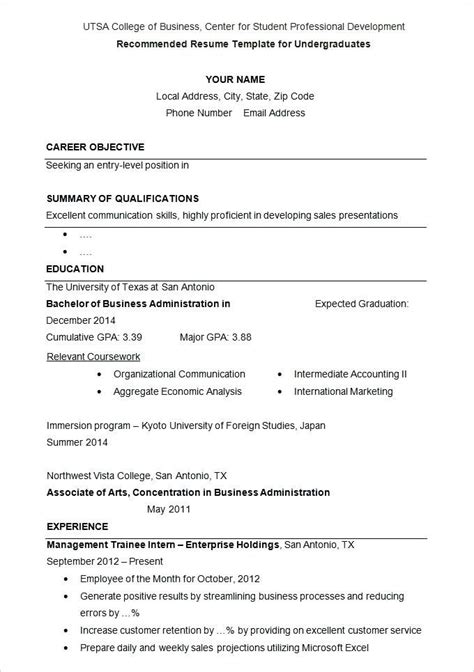 Sle Of Resume Application by College Application Resume Outline Sle Graduates