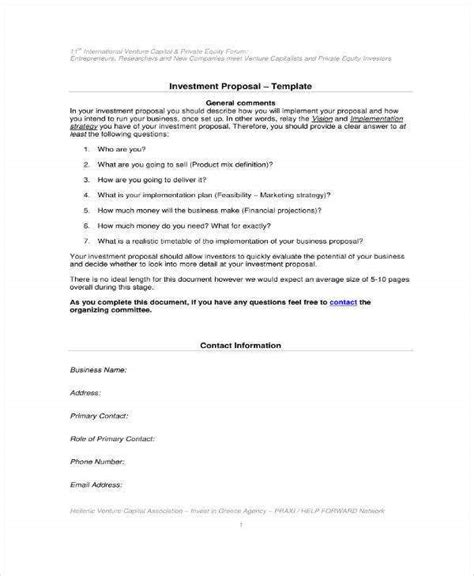 small business investment proposal templates