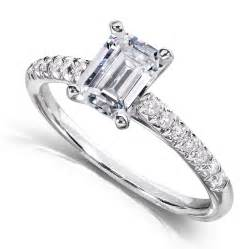 3 emerald cut engagement ring me emerald cut three engagement ring 3 4 carat ctw in 14k white gold