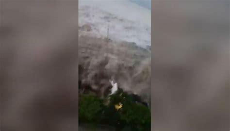 indonesian tsunamis moment  impact captured  video