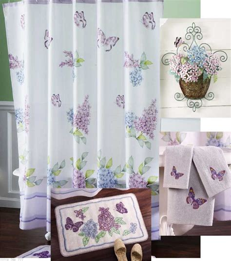 bathroom sets with shower curtain and rugs with purple