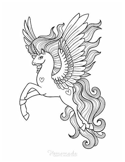 Unicorn Coloring Wings Adults Easy Magical Sheet