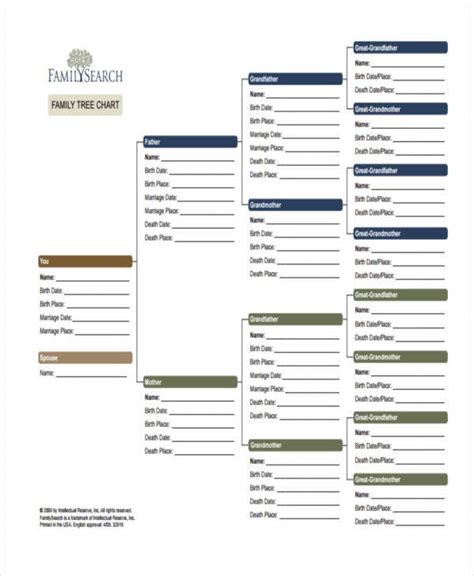 family tree chart templates  samples examples