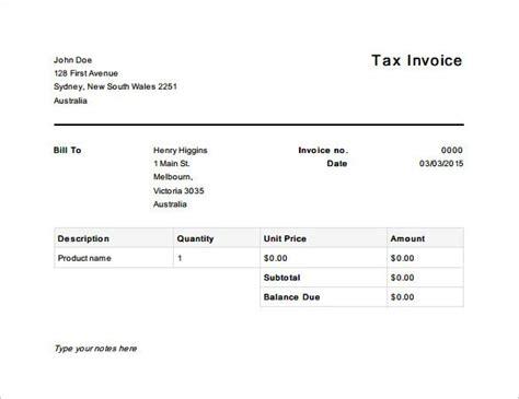 tax invoice template australia  invoice template