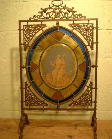 stained glass fireplace screen sold similar wanted original bronze stained