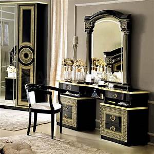 Bedroom Traditional Dresser Table Idea With Black And Gold