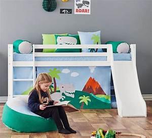 Halbhohes Bett Mit Rutsche : halbhohes bett aus wei em massivholz mit rutsche dinosaurier ~ Bigdaddyawards.com Haus und Dekorationen