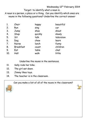 nouns worksheets year 1 noun worksheet year 1 by joop09 teaching resources tes