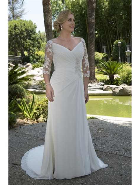 Lace Chiffon Informal Modest Wedding Dresses Modest 2017
