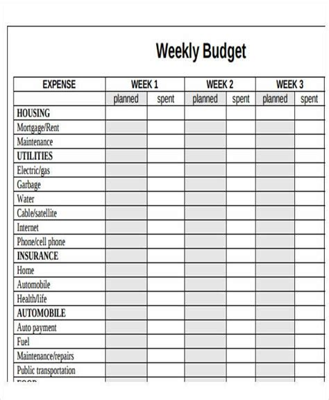 sample budget calendar templates word pages