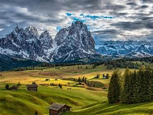 italy, scenery, mountains, houses, grasslands, fir, clouds