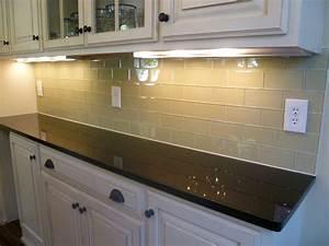 Subway Glass Tile Backsplash Kitchen Contemporary With