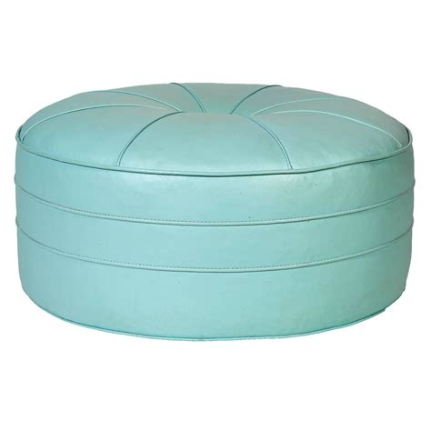 1960s turquoise sized pouf ottoman for sale
