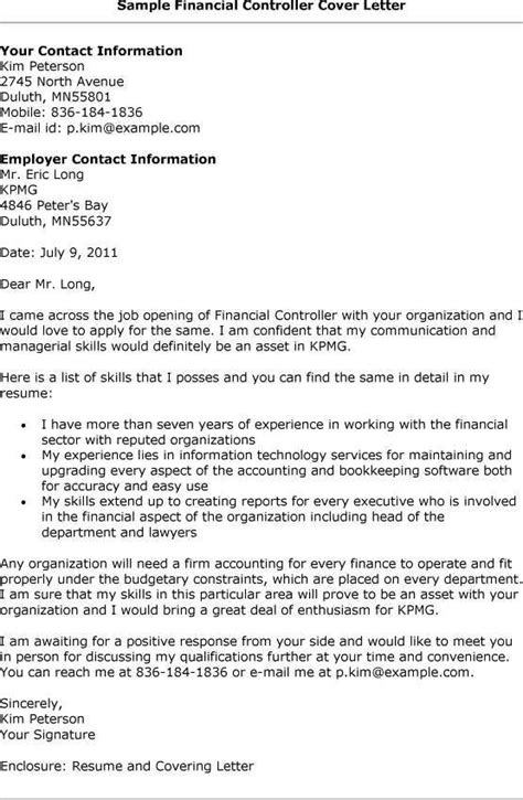 finance and controlling cover letter sle resume for financial controller http www