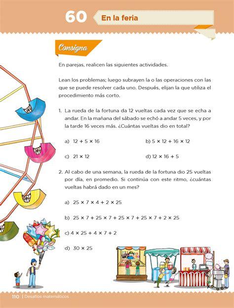 Compartimos estos fabulosos ejercicios de matemáticas para tercer grado de primaria para imprimir. Desafíos Matemáticos Cuarto grado 2020-2021 - Página 110 de 257 - Libros de Texto Online
