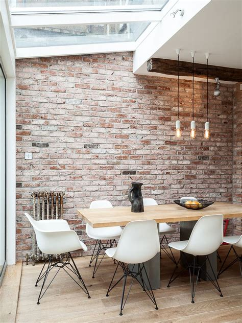 White Decor Dining Areas by White Brick Wall Texture Interior Background Design Ideas