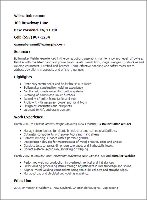 Exle Of A Boilermaker Resume Cover Letter by Professional Boilermaker Welder Templates To Showcase Your Talent Myperfectresume