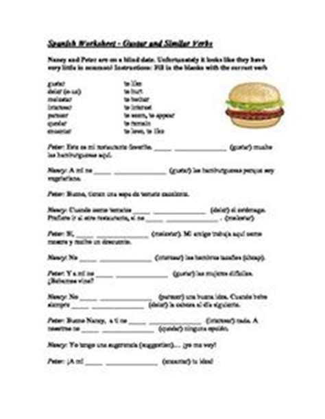 1000+ Images About Gustar And Similar Verbs Lexi On Pinterest  Spanish, Spanish Worksheets And