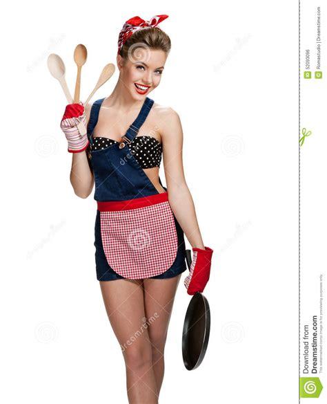 tablier de cuisine pour fille tablier de port de domestique attrayante avec des