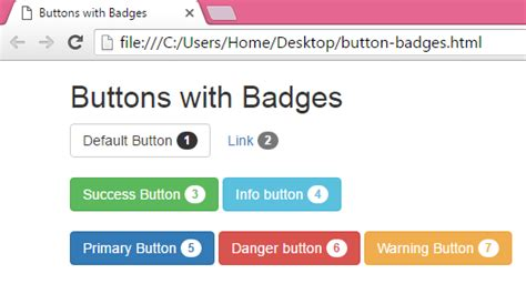 add create custom buttons with badges using bootstrap