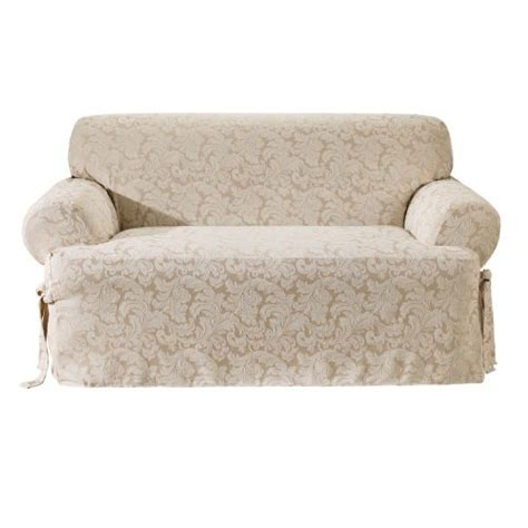sure fit scroll t cushion sofa slipcover chagne