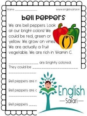 reading comprehension vegetables lesson planned