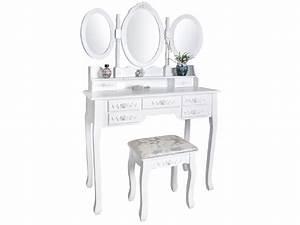 Coiffeuse 3 Miroirs : coiffeuse avec 3 miroir 7 tiroirs et tabouret blanc coiffeuse 4644 ebay ~ Teatrodelosmanantiales.com Idées de Décoration