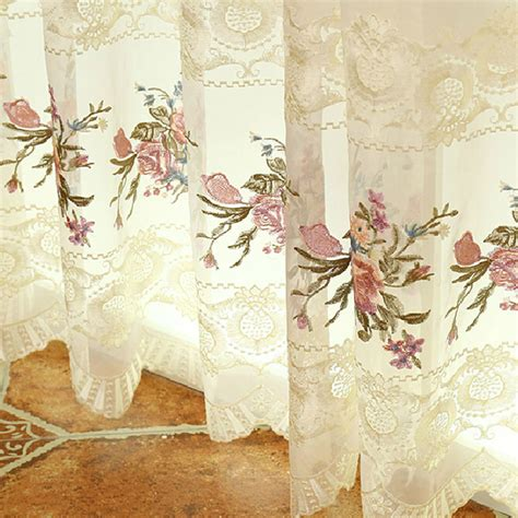 luxury floral lace suede polyester vintage curtains