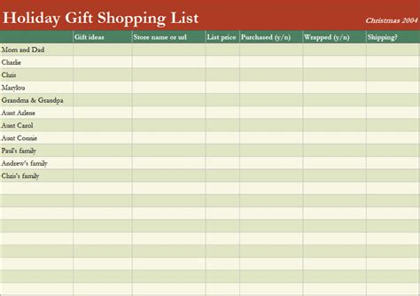 shopping list templates office templates