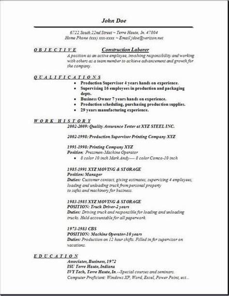 Construction Resume Objective by Construction Laborer Resume Exles Sles Free Edit With Word