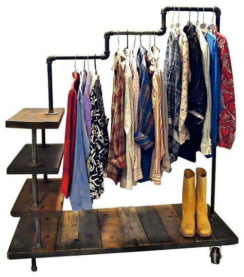 Lucy Industrial Pipe Garment Rack   Industrial   Clothes