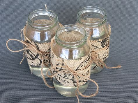 jar ideas diy centrepiece ideas glass jars decorated with burlap basil and chaise