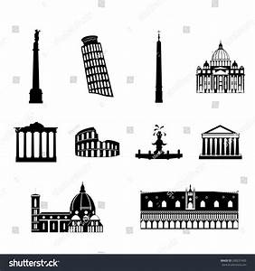 Landmarks Italy Vector Simple Black White Stock Vector ...