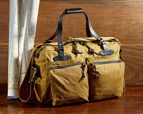 filson  hour duffle tan perfect overnight bag