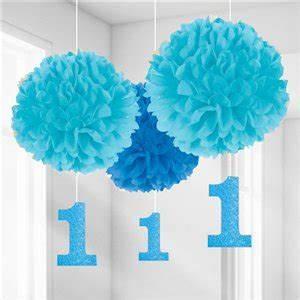Baby 1 Geburtstag Deko : 1 geburtstag pompons deko in blaut nen ~ Frokenaadalensverden.com Haus und Dekorationen