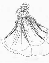 Coloring Gown Pages Barbie Dress Princess Printable Fancy Dresses Ball Victorian Outline Adults Adult Gowns 535c Colouring Drawing Night Realistic sketch template