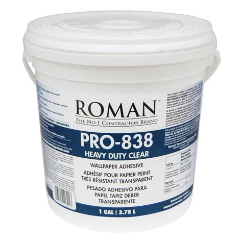 glue wall roman pro 838 1 gal heavy duty clear wallcovering adhesive 011301 the home depot