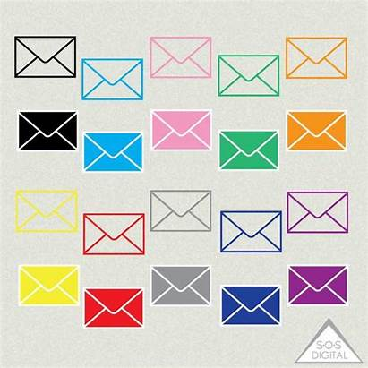 Envelope Clipart Email Mail Colored
