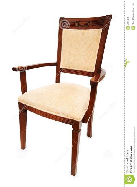 wooden arm chair isolated on the white stock image image