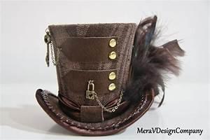 Mini Top Hat Steampunk Brown Mini Hat Brass Lock Key Chain