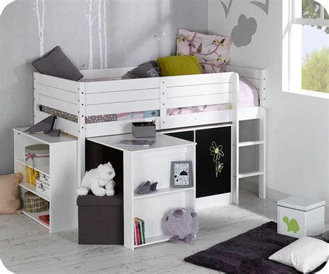 set lit enfant mi hauteur tamis blanc