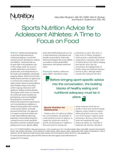 sports nutrition advice  adolescent athletes
