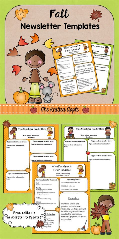 Apple Newsletter Template Free Fall Themed Newsletter Templates The Knitted Apple