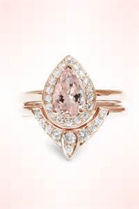 pear morganite engagement ring pear shaped morganite engagement ring and wedding gold set how do it info
