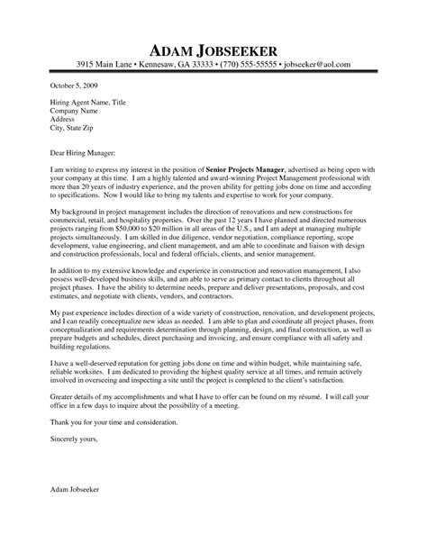 project manager cover letter proper project manager cover letter sle letter format