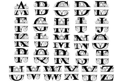 split monogram lettersvector svgsilhouette svgletter svgsplit alphabet svgsplit