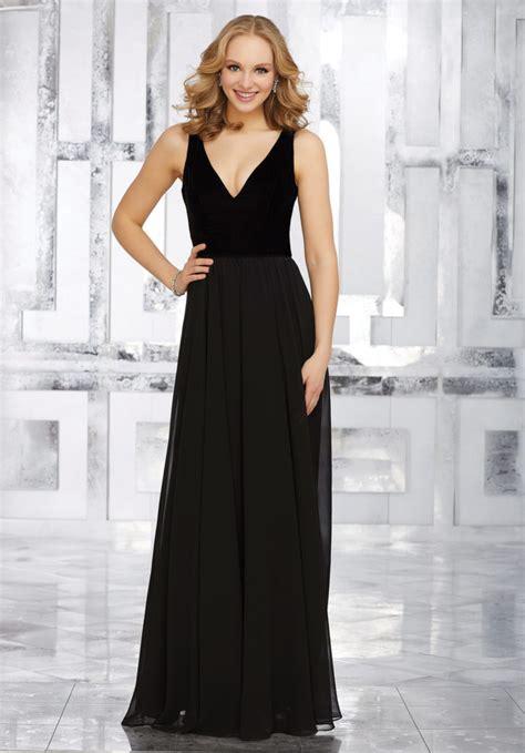 stretch velvet and chiffon bridesmaids dress with v