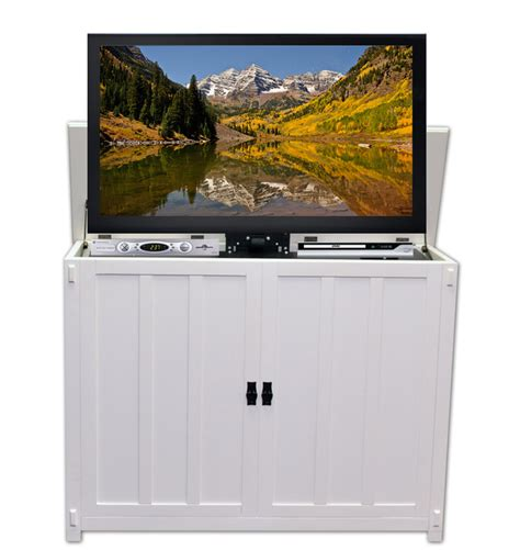 tv lift cabinets elevate mission white tv lift cabinet for flat screen tvs