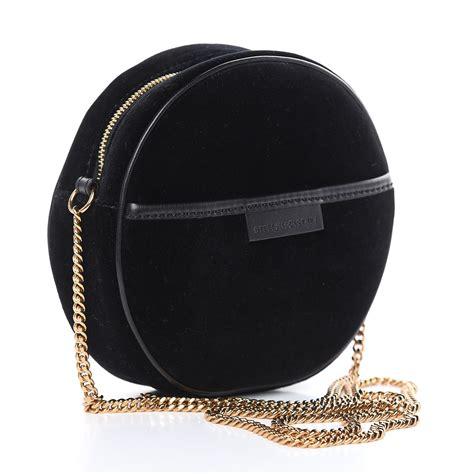 stella mccartney velvet crystal monogram mini  crossbody bag black