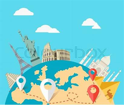 Travel Adventure Trip Around Map Vector Globe